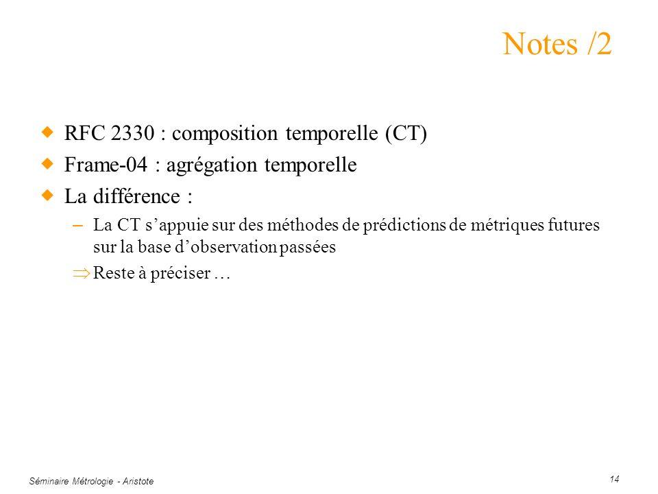 Séminaire Métrologie - Aristote 14 Notes /2 RFC 2330 : composition temporelle (CT) Frame-04 : agrégation temporelle La différence : – La CT sappuie su