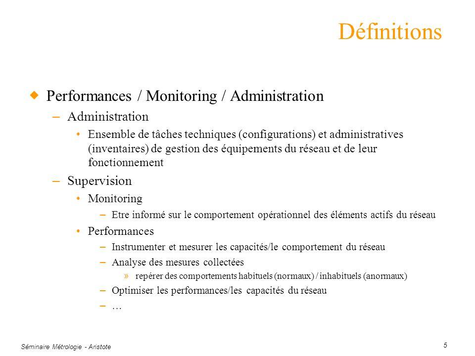 Séminaire Métrologie - Aristote 5 Définitions Performances / Monitoring / Administration – Administration Ensemble de tâches techniques (configuration