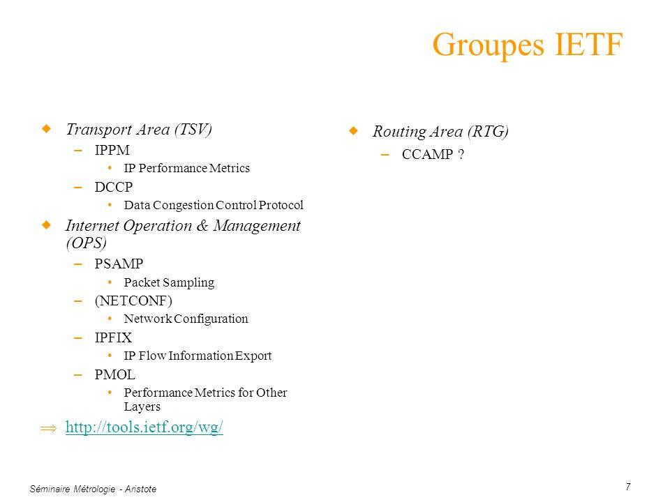 Séminaire Métrologie - Aristote 7 Groupes IETF Transport Area (TSV) – IPPM IP Performance Metrics – DCCP Data Congestion Control Protocol Internet Ope