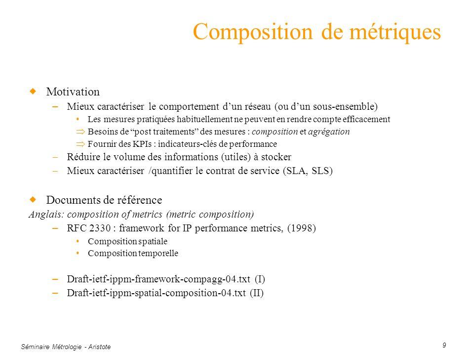Séminaire Métrologie - Aristote 9 Composition de métriques Motivation – Mieux caractériser le comportement dun réseau (ou dun sous-ensemble) Les mesur