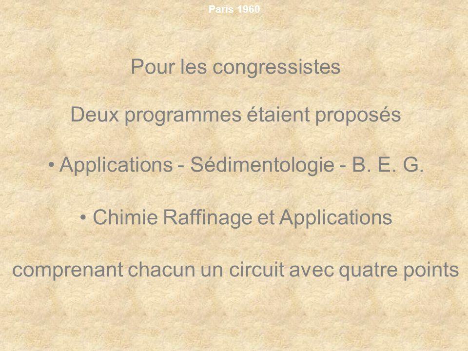 Paris 1960 Pour les congressistes Deux programmes étaient proposés Applications Sédimentologie B. E. G. Chimie Raffinage et Applications comprenant ch
