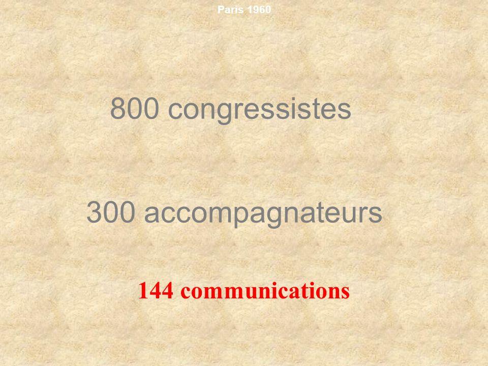 Paris 1960 800 congressistes 300 accompagnateurs 144 communications