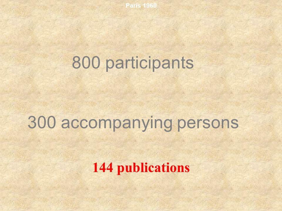 Paris 1960 800 participants 300 accompanying persons 144 publications