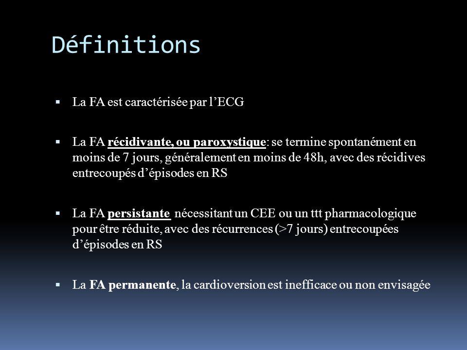 Définitions La FA est caractérisée par lECG La FA récidivante, ou paroxystique: se termine spontanément en moins de 7 jours, généralement en moins de