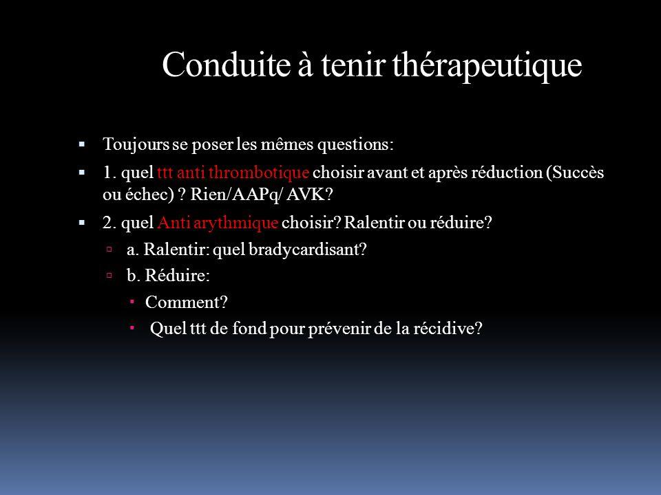 Conduite à tenir thérapeutique Toujours se poser les mêmes questions: 1. quel ttt anti thrombotique choisir avant et après réduction (Succès ou échec)