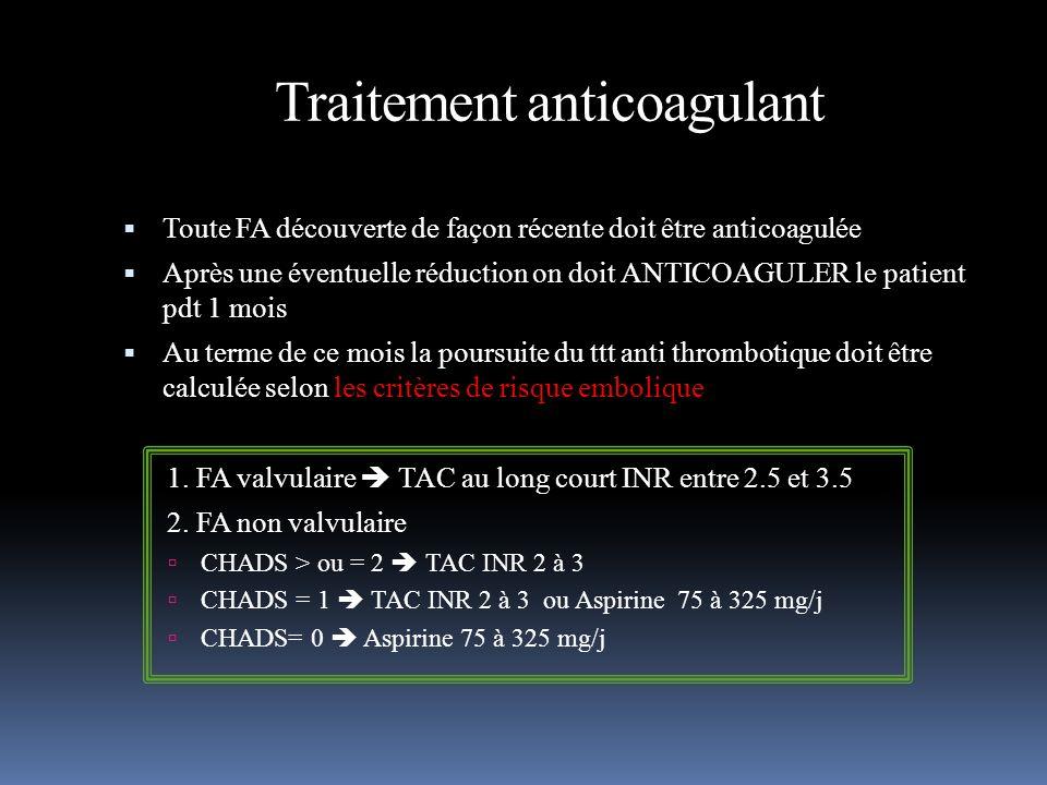 Traitement anticoagulant Toute FA découverte de façon récente doit être anticoagulée Après une éventuelle réduction on doit ANTICOAGULER le patient pd