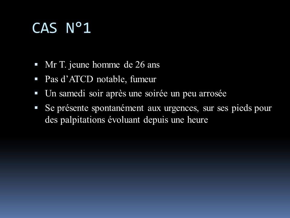 Examens Clinique: TA=12/8, SAT=98% en AA, RAS Biologie: alcool=1.9g/l, TSH=1.5, D-dimères=230 Radio de thorax: RAS ECG: -> ETT: pas de cardiopathie