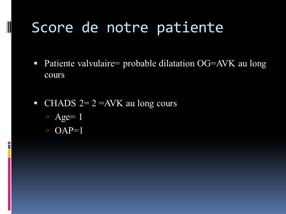 Score de notre patiente Patiente valvulaire= probable dilatation OG=AVK au long cours CHADS 2= 2 =AVK au long cours Age= 1 OAP=1