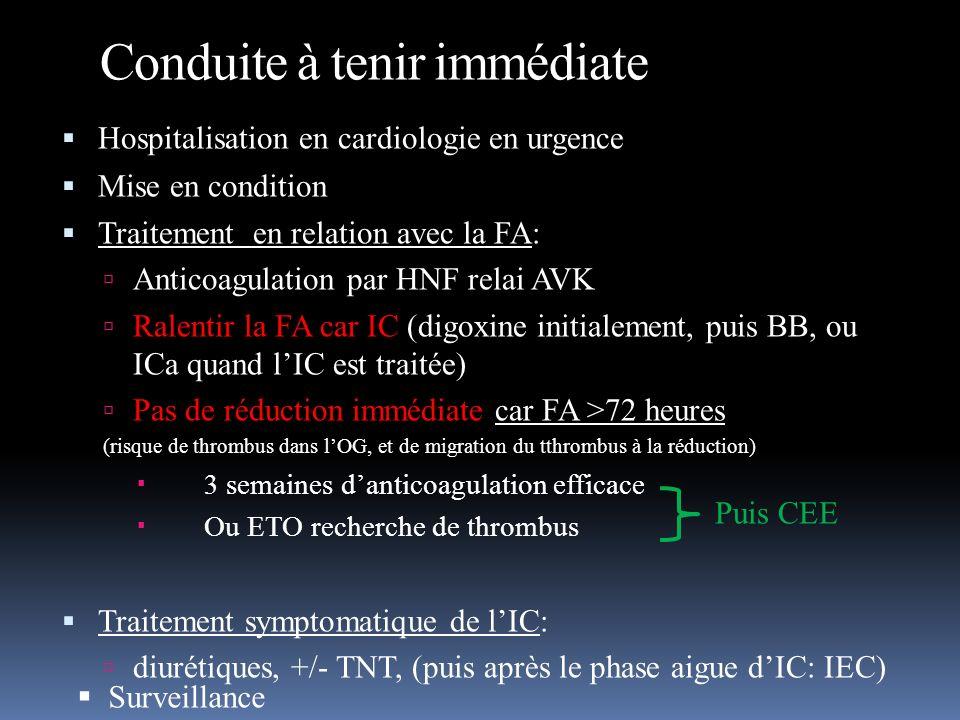Conduite à tenir immédiate Hospitalisation en cardiologie en urgence Mise en condition Traitement en relation avec la FA: Anticoagulation par HNF rela
