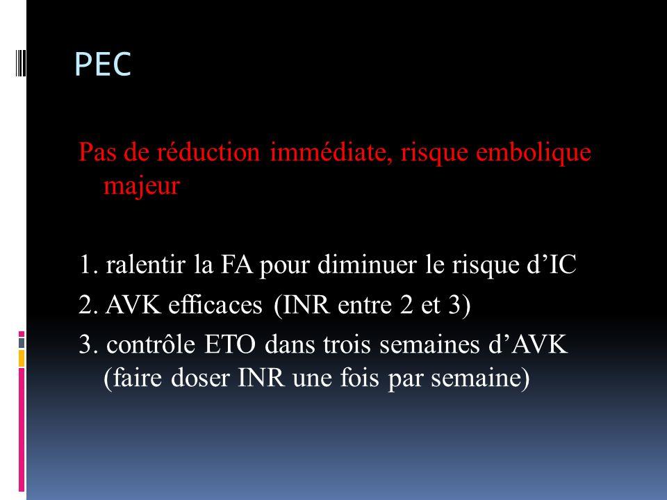 PEC Pas de réduction immédiate, risque embolique majeur 1. ralentir la FA pour diminuer le risque dIC 2. AVK efficaces (INR entre 2 et 3) 3. contrôle