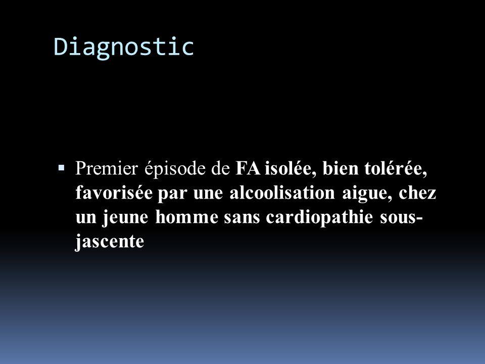justification Terrain: homme jeune, Contexte: alcoolisation aigue, almcoolémie= 1,9g/l Premier épisode (pas dATCD) ECG: tachyarythmie à QRS fins, trémulations de la ligne isolélectrique, réalisant des ondes p ou f de FA, cadence ventriculaire moyenne 120bpm Bonne hémodynamique, pas de SC IVG, TA normale à 120/80 mmHg Pas de cardiopathie à lETT