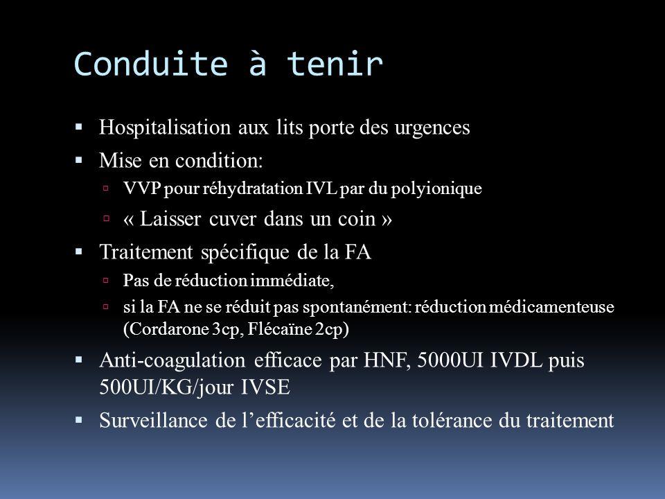 Conduite à tenir Hospitalisation aux lits porte des urgences Mise en condition: VVP pour réhydratation IVL par du polyionique « Laisser cuver dans un