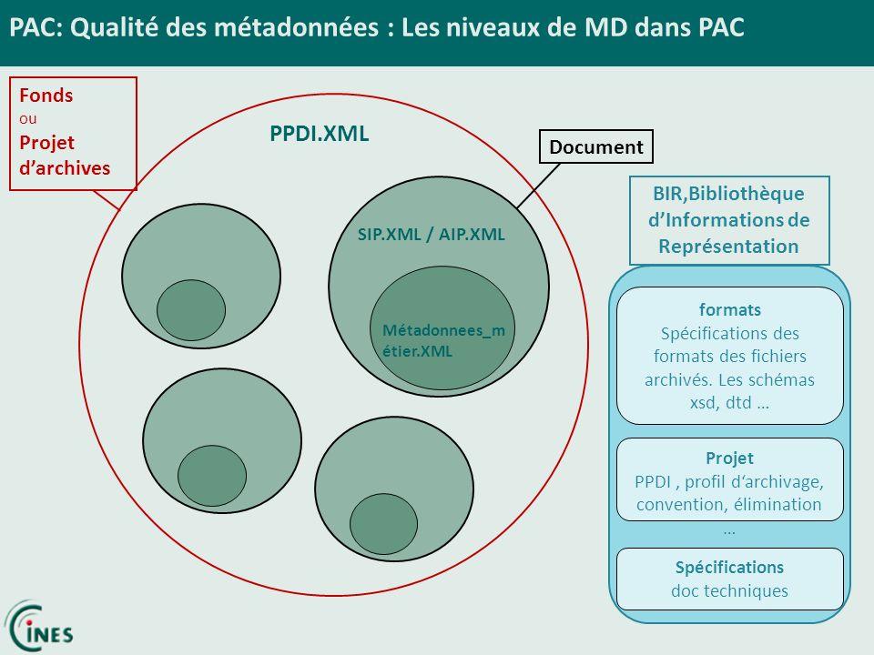 Fonds ou Projet darchives PAC: Qualité des métadonnées : Les niveaux de MD dans PAC PPDI.XML DocumentBIR,Bibliothèque dInformations de Représentation