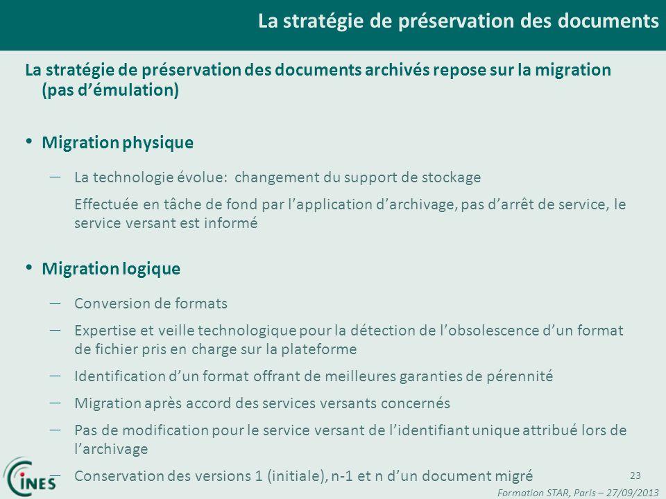 La stratégie de préservation des documents La stratégie de préservation des documents archivés repose sur la migration (pas démulation) Migration phys