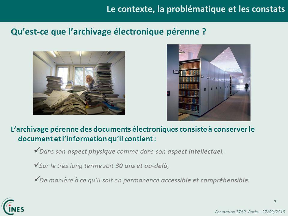 Le contexte, la problématique et les constats Quest-ce que larchivage électronique pérenne ? Larchivage pérenne des documents électroniques consiste à