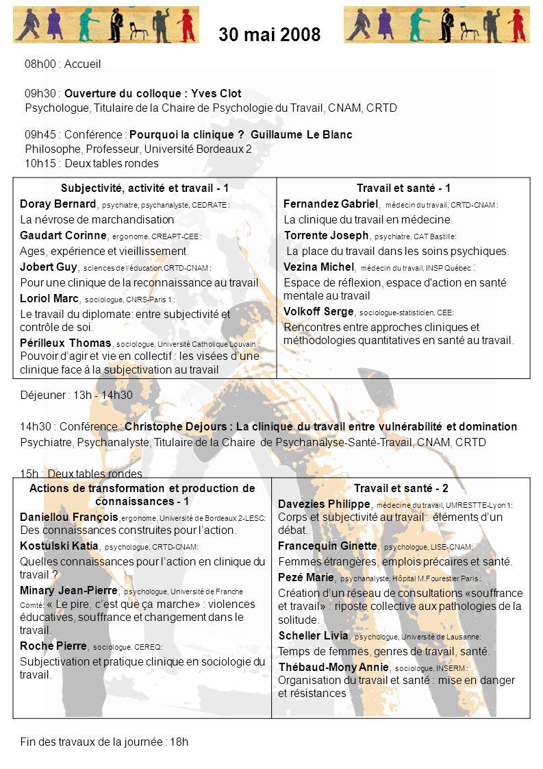 30 mai 2008 08h00 : Accueil 09h30 : Ouverture du colloque : Yves Clot Psychologue, Titulaire de la Chaire de Psychologie du Travail, CNAM, CRTD 09h45