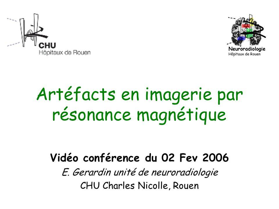 Artéfacts en imagerie par résonance magnétique Vidéo conférence du 02 Fev 2006 E. Gerardin unité de neuroradiologie CHU Charles Nicolle, Rouen