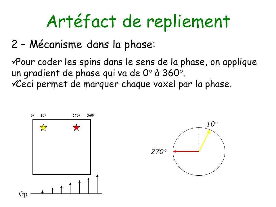 Artéfact de repliement 2 – Mécanisme dans la phase: Pour coder les spins dans le sens de la phase, on applique un gradient de phase qui va de 0° à 360