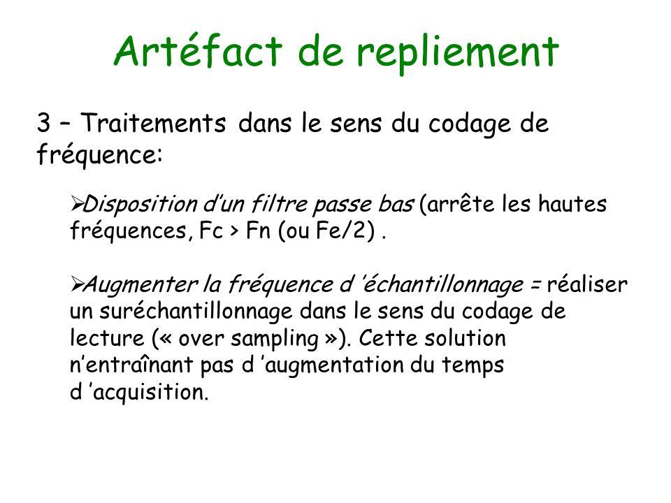 Artéfact de repliement 3 – Traitements dans le sens du codage de fréquence: Disposition dun filtre passe bas (arrête les hautes fréquences, Fc > Fn (o