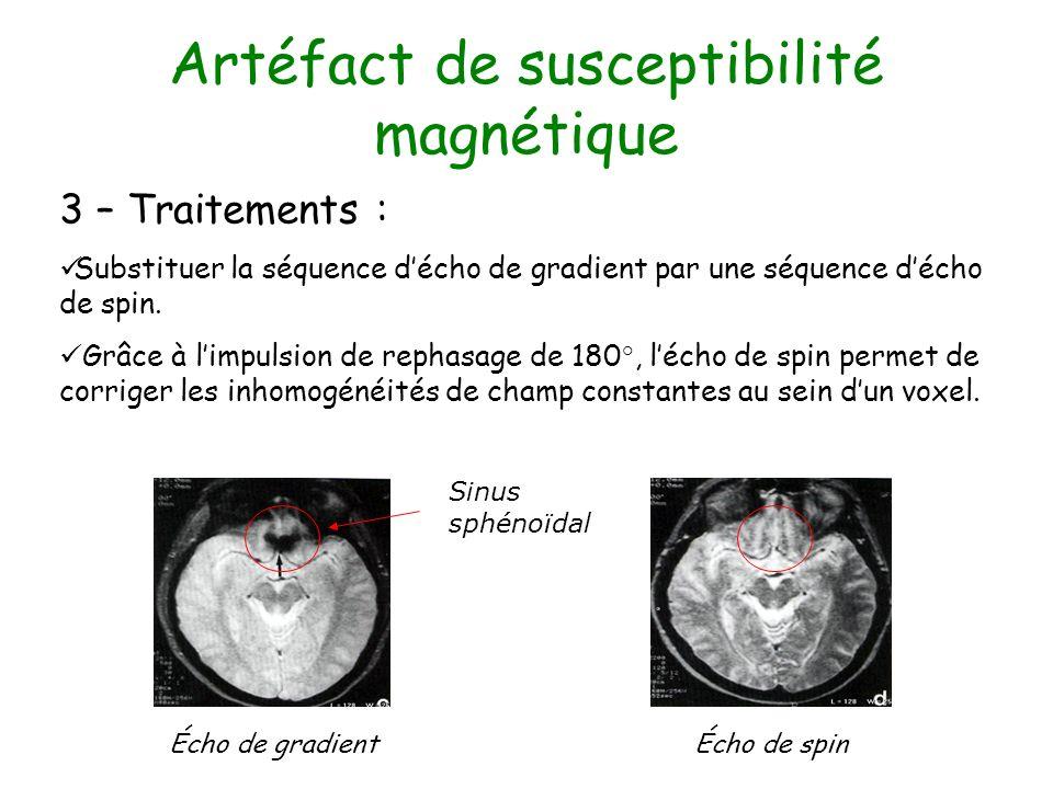 Artéfact de susceptibilité magnétique 3 – Traitements : Substituer la séquence décho de gradient par une séquence décho de spin. Grâce à limpulsion de