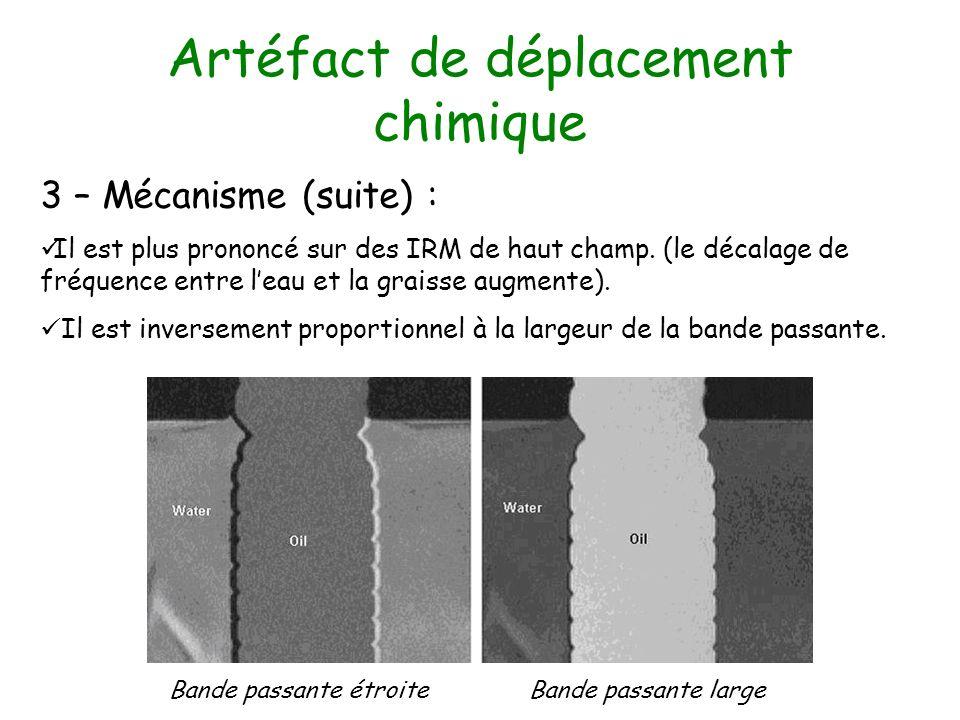 Artéfact de déplacement chimique 3 – Mécanisme (suite) : Il est plus prononcé sur des IRM de haut champ. (le décalage de fréquence entre leau et la gr