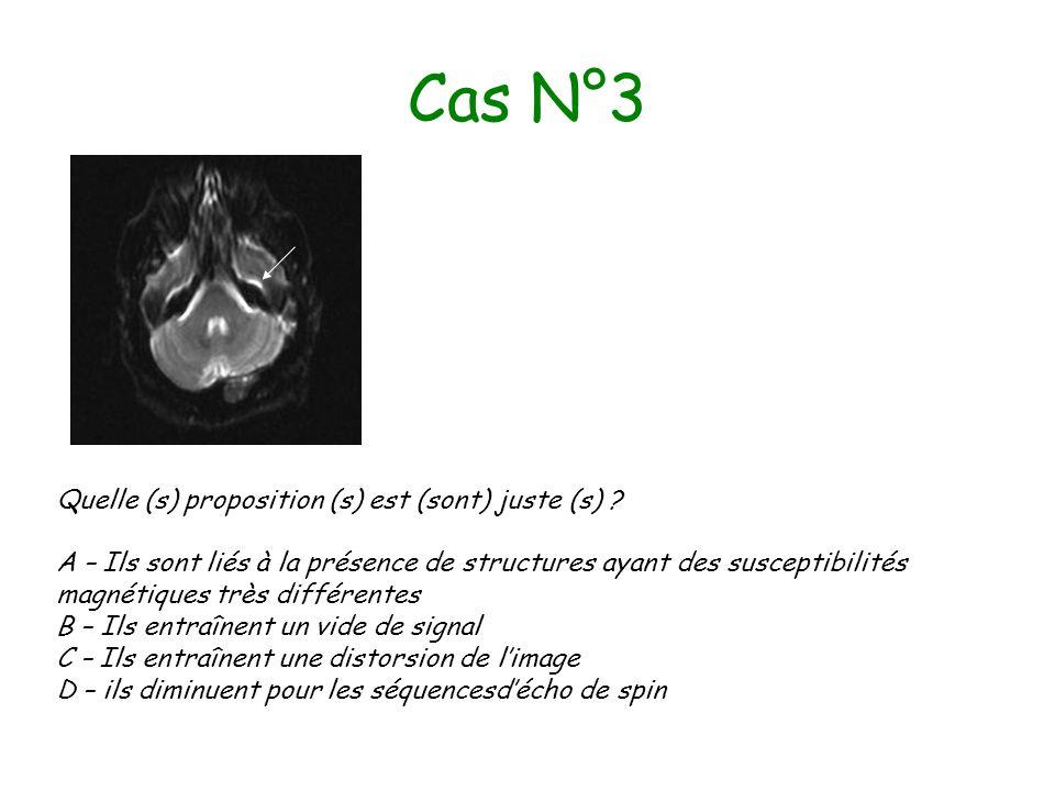 Cas N°3 Quelle (s) proposition (s) est (sont) juste (s) ? A – Ils sont liés à la présence de structures ayant des susceptibilités magnétiques très dif