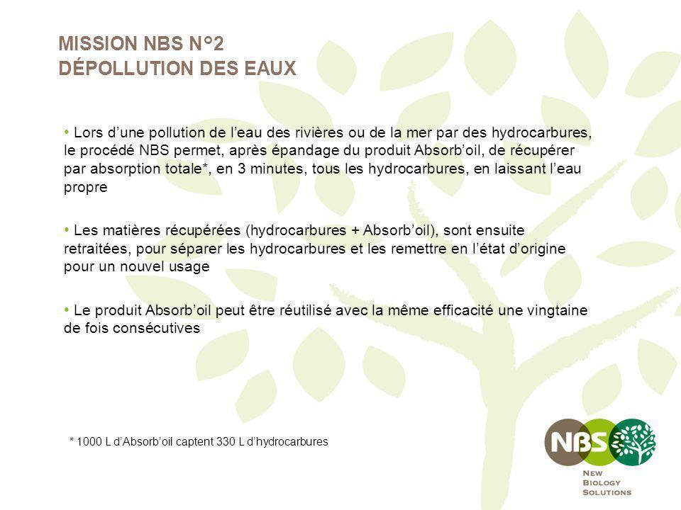 MISSION NBS N°2 DÉPOLLUTION DES EAUX Lors dune pollution de leau des rivières ou de la mer par des hydrocarbures, le procédé NBS permet, après épandag