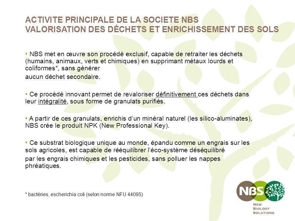 NBS met en œuvre son procédé exclusif, capable de retraiter les déchets (humains, animaux, verts et chimiques) en supprimant métaux lourds et coliform
