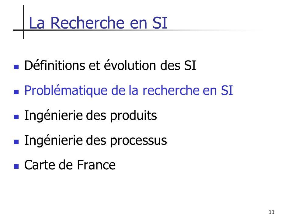 11 Définitions et évolution des SI Problématique de la recherche en SI Ingénierie des produits Ingénierie des processus Carte de France La Recherche e