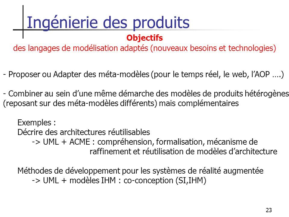 23 Ingénierie des produits Objectifs des langages de modélisation adaptés (nouveaux besoins et technologies) - Proposer ou Adapter des méta-modèles (p