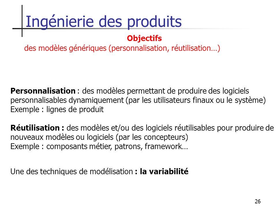 26 Une des techniques de modélisation : la variabilité Ingénierie des produits Personnalisation : des modèles permettant de produire des logiciels per