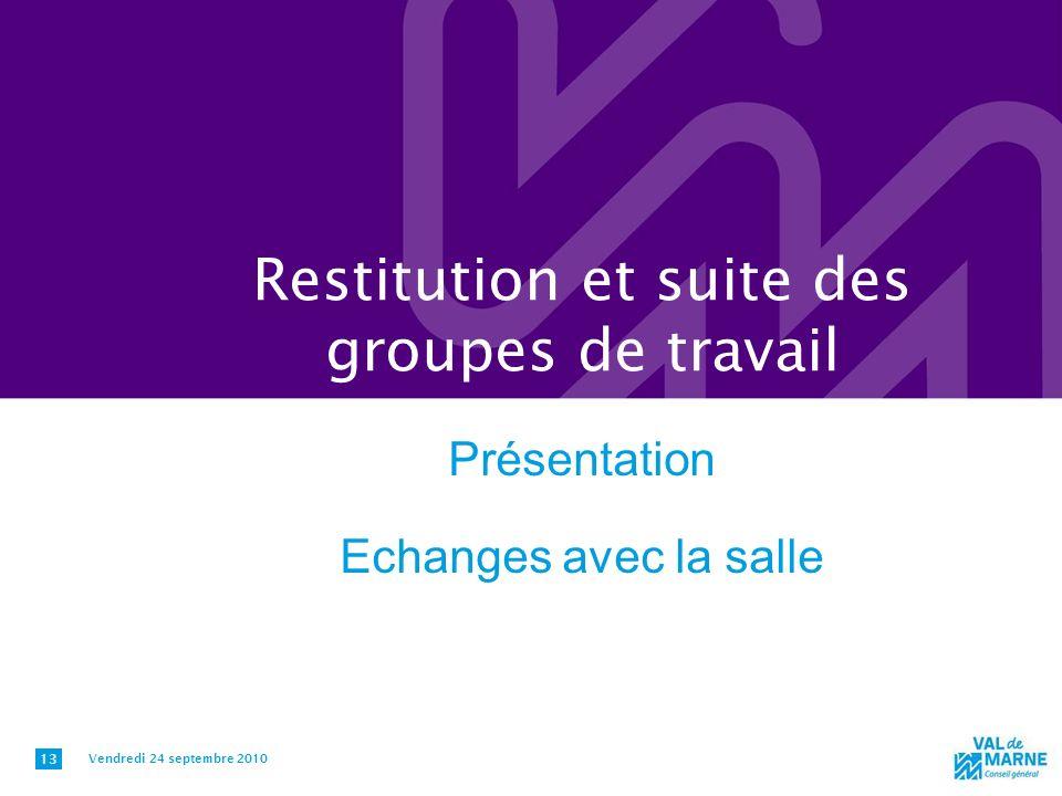 Restitution et suite des groupes de travail Présentation Echanges avec la salle Vendredi 24 septembre 2010 13