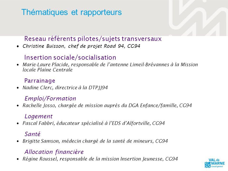 Thématiques et rapporteurs Reseau référents pilotes/sujets transversaux Christine Buisson, chef de projet Road 94, CG94 Insertion sociale/socialisatio