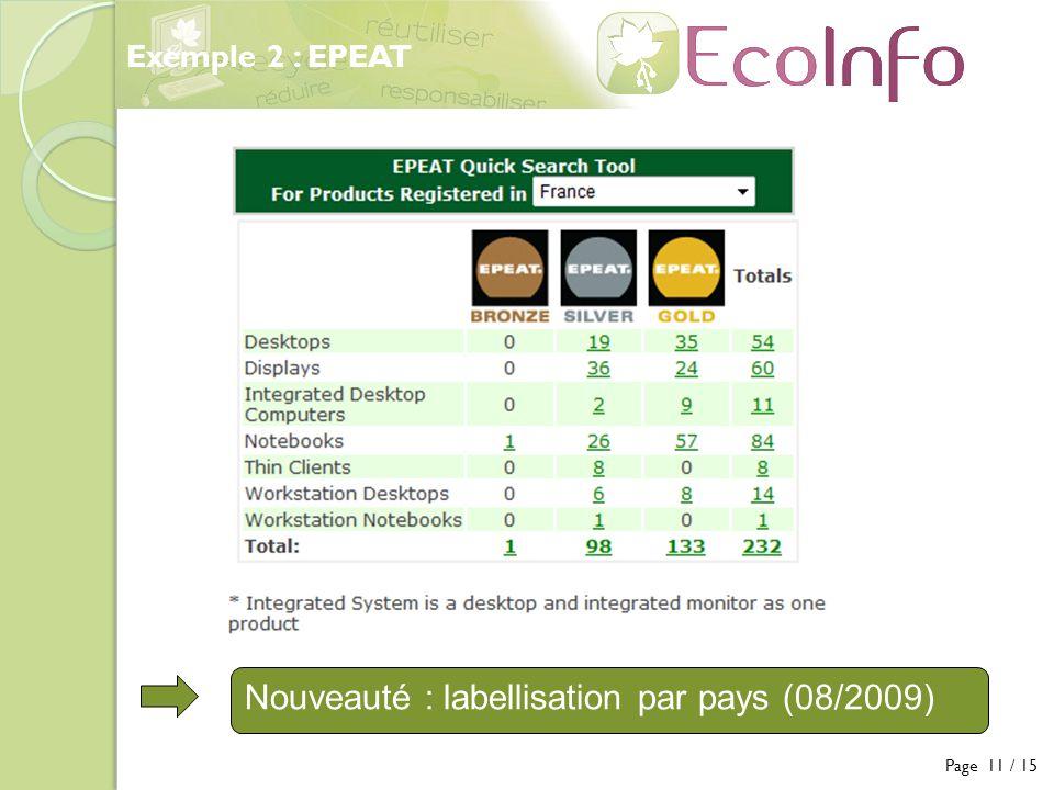 Page 11 / 15 Exemple 2 : EPEAT Nouveauté : labellisation par pays (08/2009)