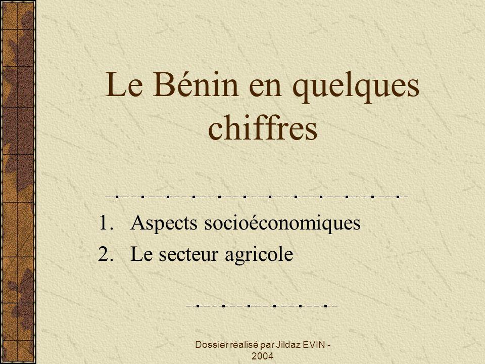 Dossier réalisé par Jildaz EVIN - 2004 Le Bénin en quelques chiffres 1.Aspects socioéconomiques 2.Le secteur agricole