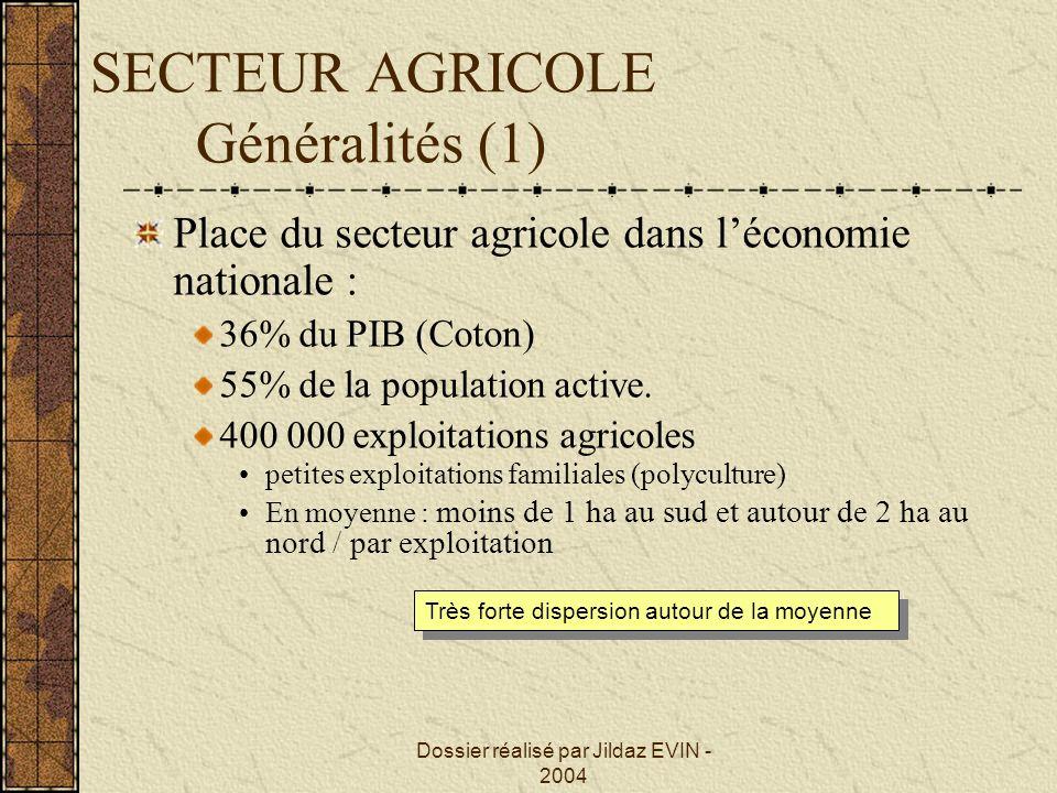 Dossier réalisé par Jildaz EVIN - 2004 SECTEUR AGRICOLE Généralités (1) Place du secteur agricole dans léconomie nationale : 36% du PIB (Coton) 55% de