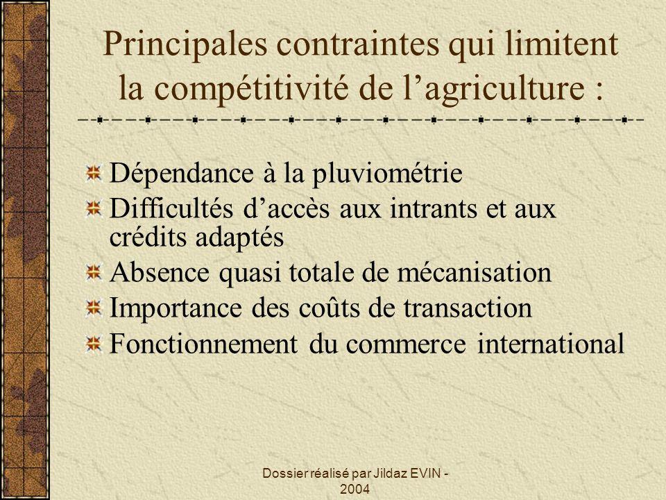 Dossier réalisé par Jildaz EVIN - 2004 Principales contraintes qui limitent la compétitivité de lagriculture : Dépendance à la pluviométrie Difficulté
