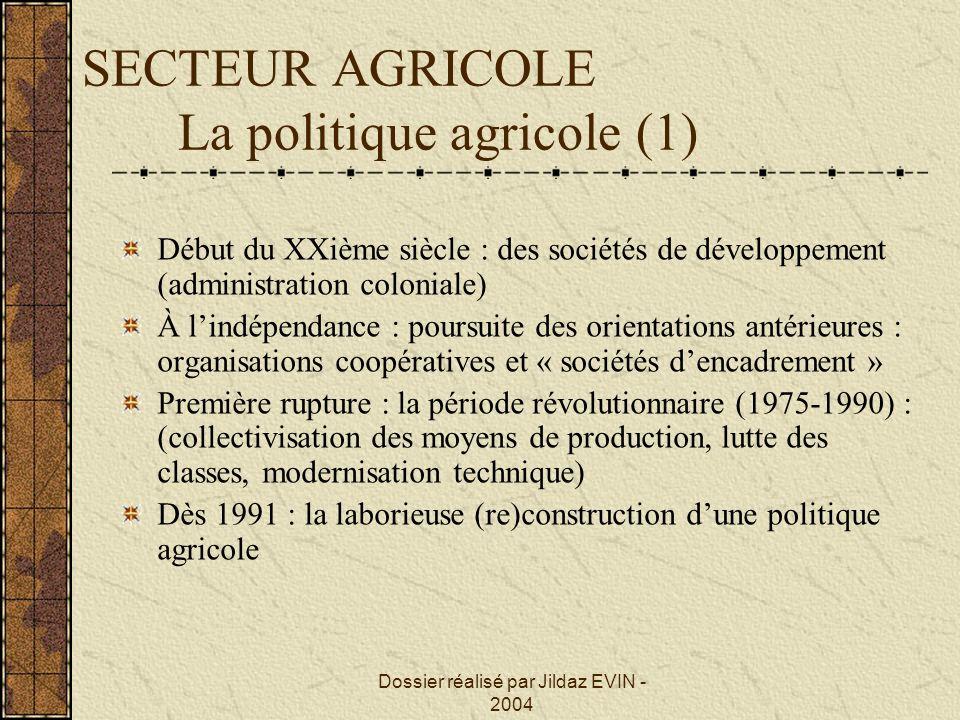 SECTEUR AGRICOLE La politique agricole (1) Début du XXième siècle : des sociétés de développement (administration coloniale) À lindépendance : poursui