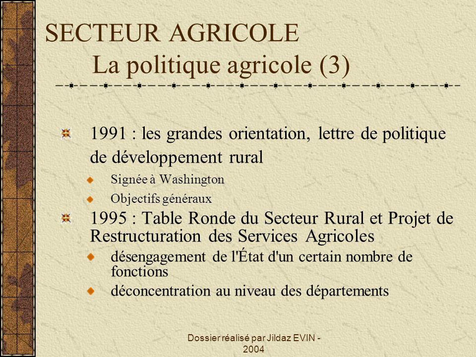 Dossier réalisé par Jildaz EVIN - 2004 SECTEUR AGRICOLE La politique agricole (3) 1991 : les grandes orientation, lettre de politique de développement