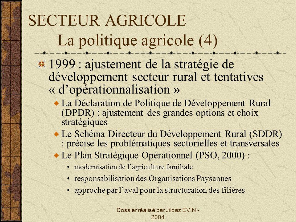 Dossier réalisé par Jildaz EVIN - 2004 SECTEUR AGRICOLE La politique agricole (4) 1999 : ajustement de la stratégie de développement secteur rural et