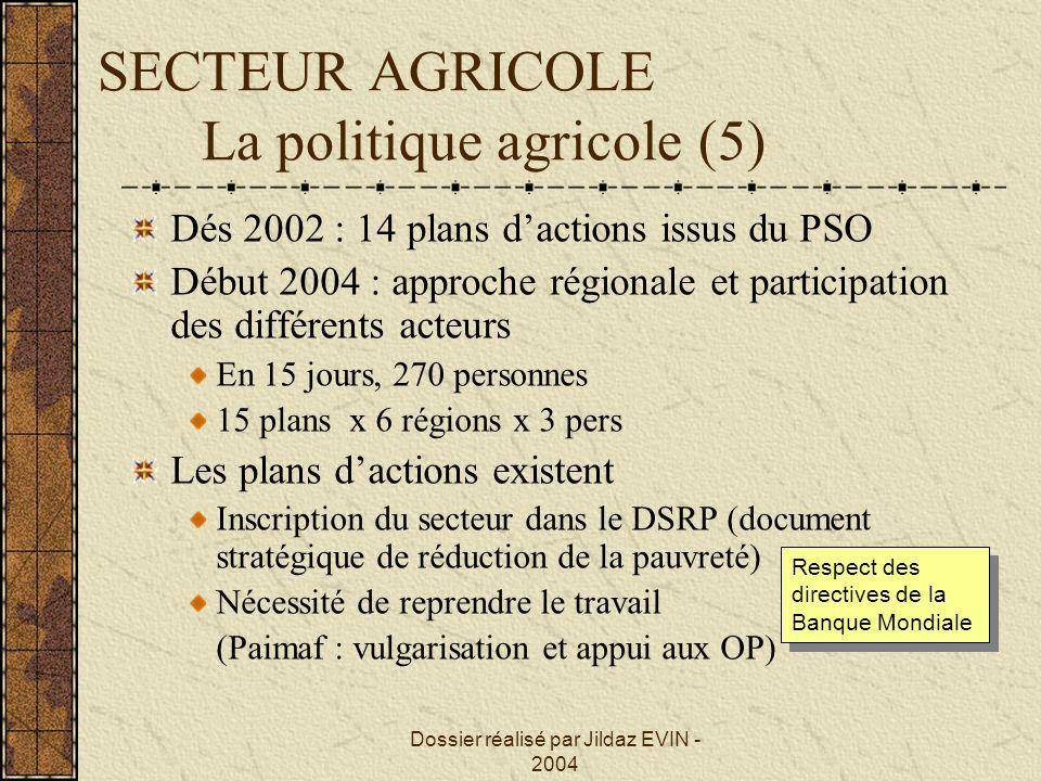 Dossier réalisé par Jildaz EVIN - 2004 SECTEUR AGRICOLE La politique agricole (5) Dés 2002 : 14 plans dactions issus du PSO Début 2004 : approche régi