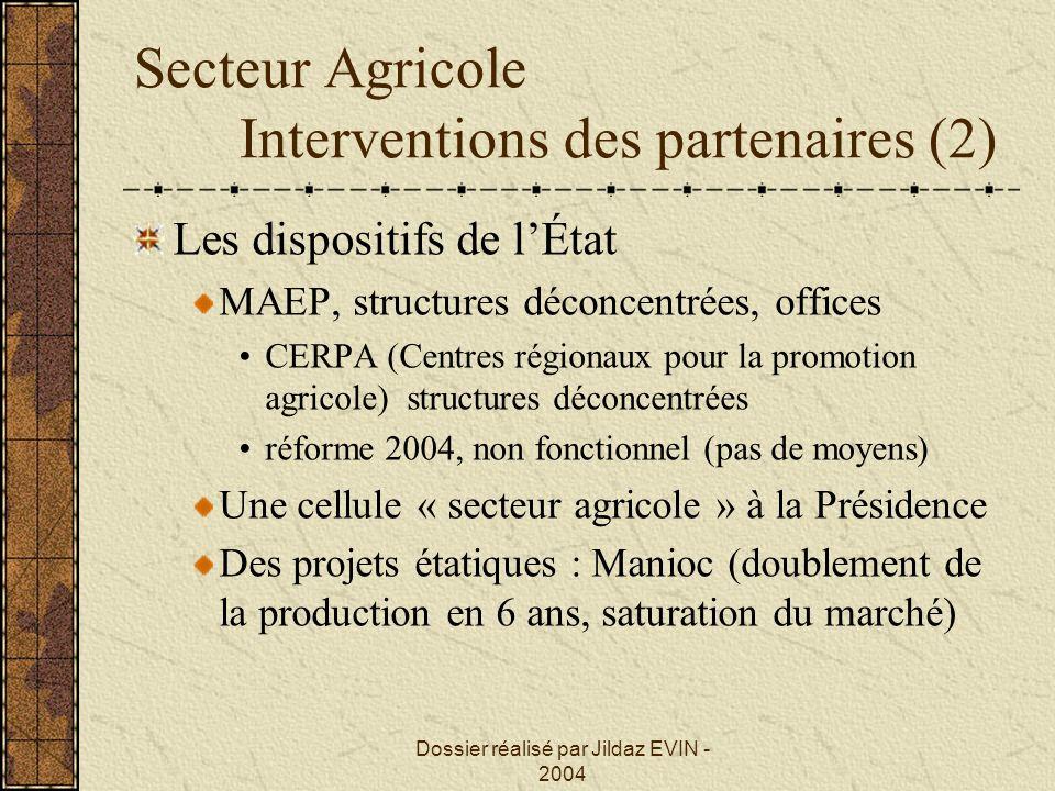 Dossier réalisé par Jildaz EVIN - 2004 Secteur Agricole Interventions des partenaires (2) Les dispositifs de lÉtat MAEP, structures déconcentrées, off