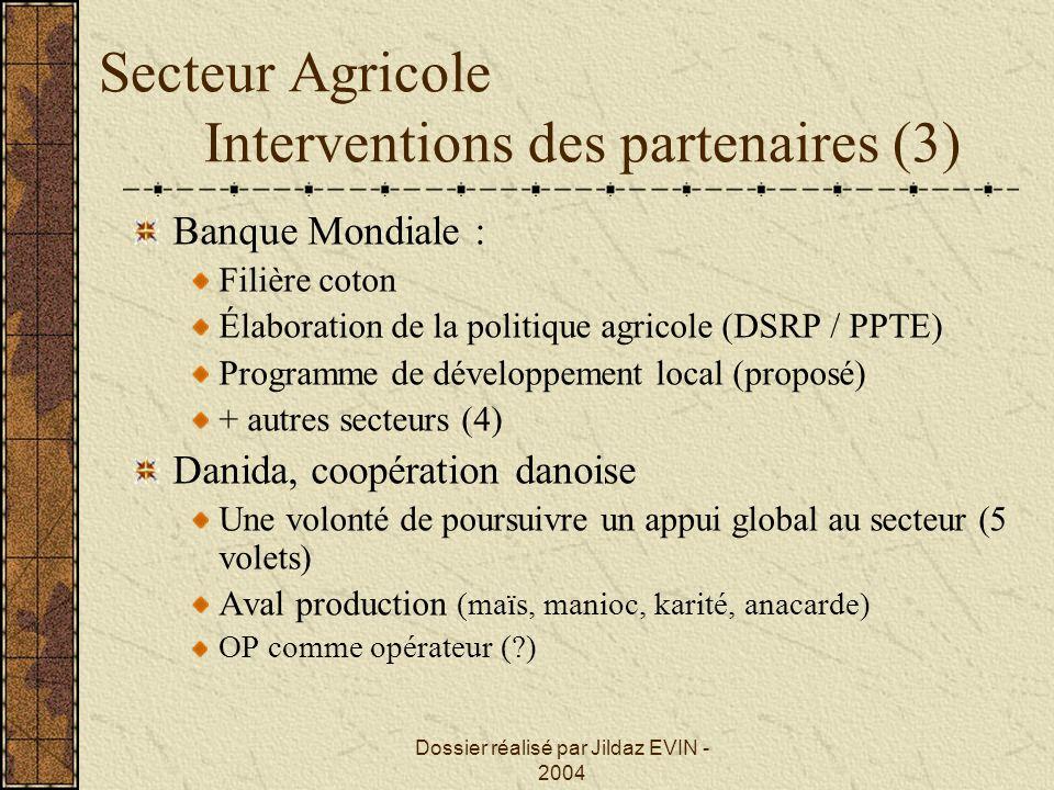 Dossier réalisé par Jildaz EVIN - 2004 Secteur Agricole Interventions des partenaires (3) Banque Mondiale : Filière coton Élaboration de la politique