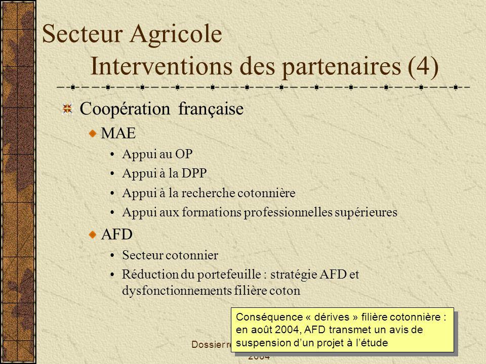 Dossier réalisé par Jildaz EVIN - 2004 Secteur Agricole Interventions des partenaires (4) Coopération française MAE Appui au OP Appui à la DPP Appui à