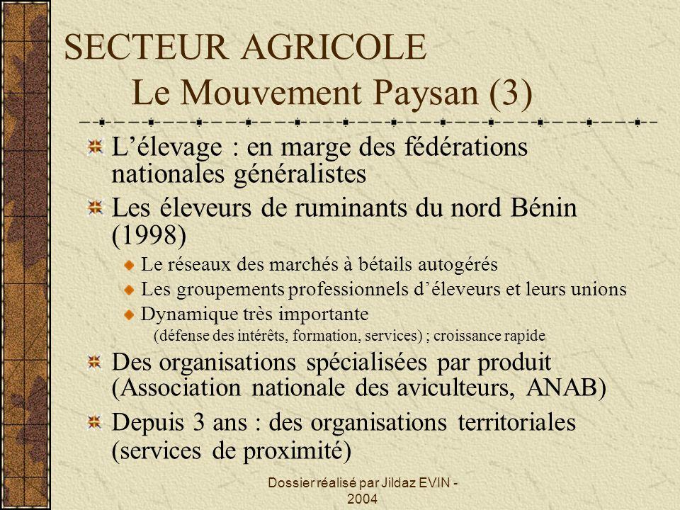 Dossier réalisé par Jildaz EVIN - 2004 SECTEUR AGRICOLE Le Mouvement Paysan (3) Lélevage : en marge des fédérations nationales généralistes Les éleveu
