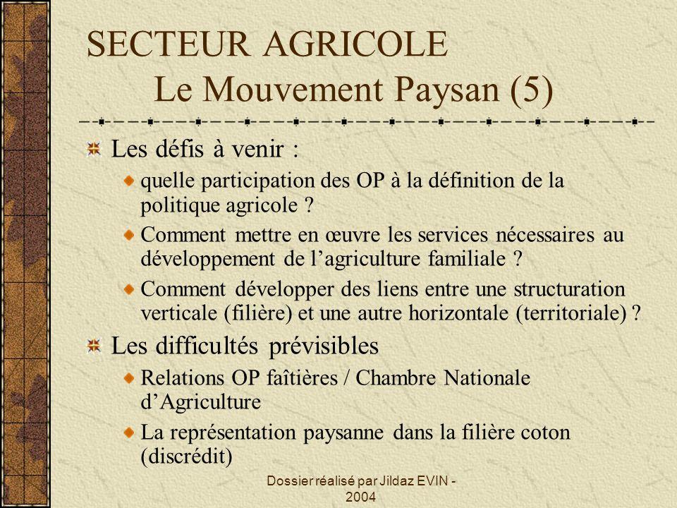 Dossier réalisé par Jildaz EVIN - 2004 SECTEUR AGRICOLE Le Mouvement Paysan (5) Les défis à venir : quelle participation des OP à la définition de la