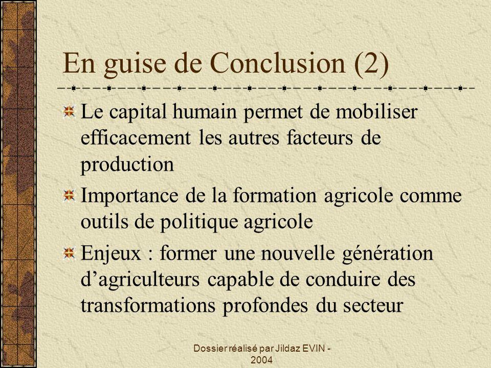 Dossier réalisé par Jildaz EVIN - 2004 En guise de Conclusion (2) Le capital humain permet de mobiliser efficacement les autres facteurs de production