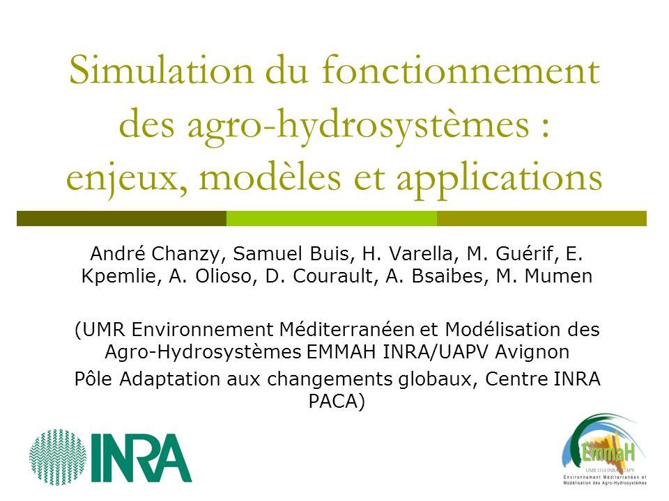 Simulation du fonctionnement des agro-hydrosystèmes : enjeux, modèles et applications André Chanzy, Samuel Buis, H. Varella, M. Guérif, E. Kpemlie, A.