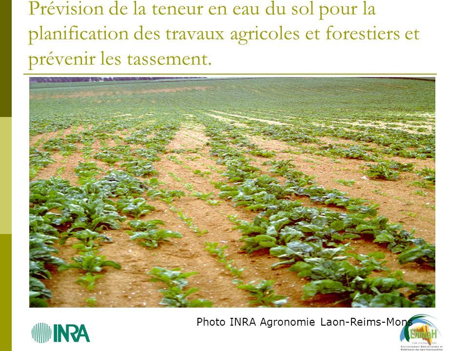 Prévision de la teneur en eau du sol pour la planification des travaux agricoles et forestiers et prévenir les tassement. Photo INRA Agronomie Laon-Re