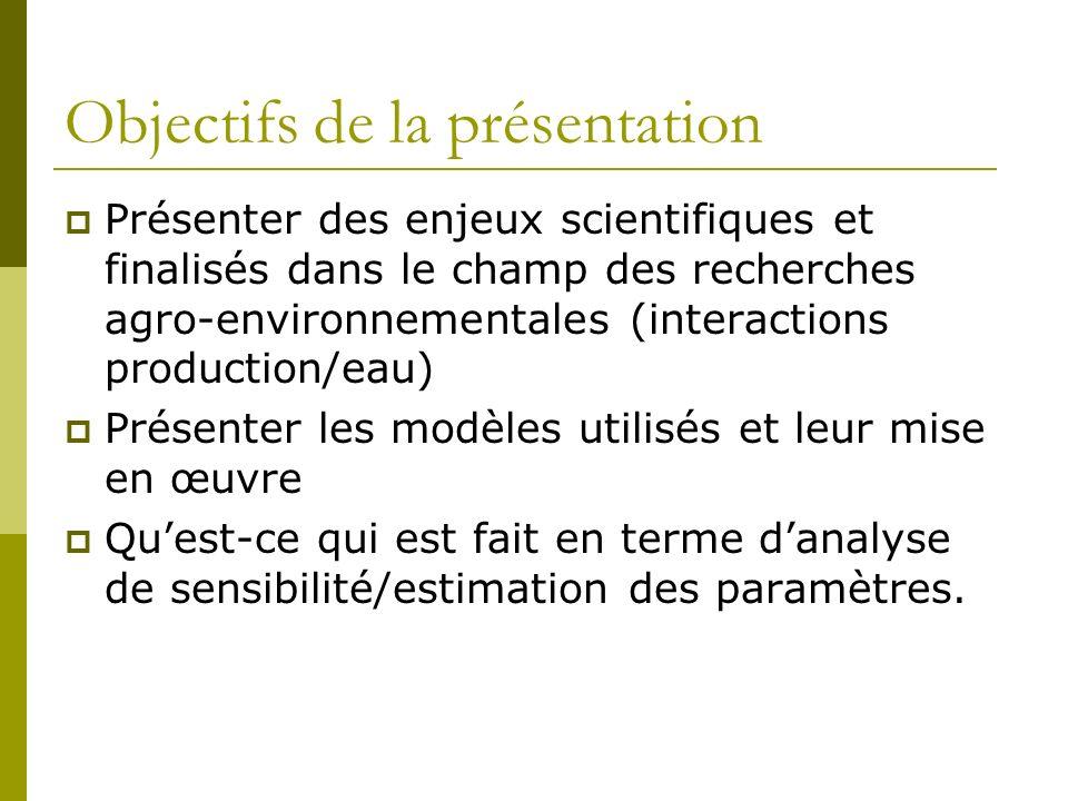Objectifs de la présentation Présenter des enjeux scientifiques et finalisés dans le champ des recherches agro-environnementales (interactions product